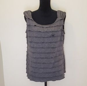 Gray Ruffled Tank Top from AB Studio